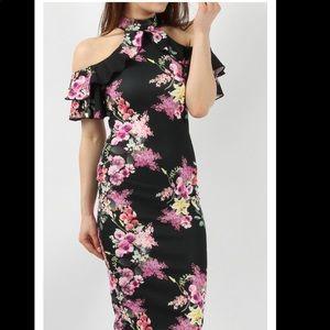 floral cold shoulder dress UK size 8 (US size 4)